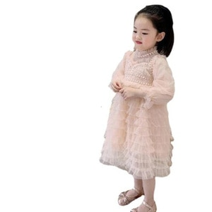 Cultiseed Baby Girls Multi Layered Mesh Birthday Party Princess Cake Dress Children Kids Cute Sweet Long Sleeve Gowns Clothing