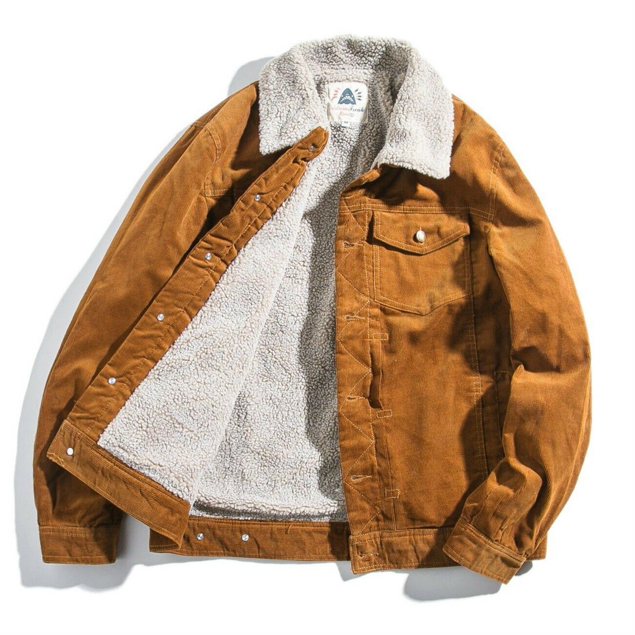 الرجال سروال قصير شيربا صوف مبطن معطف سترة أبلى اليابانية الترفيه شتاء دافئ الصوف بطانة معطف أصفر معطف 914-677