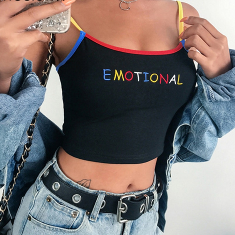 2020 Summer Women Crop Top Cropped Ladies Spaghetti Strap Elastic Camisole Sexy EMOTIONAL Heart Lett
