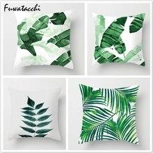 Fuwatacchi-housse de coussin décorative   Feuille verte, plante tropicale, housse de coussin, feuille de palmier, taie doreiller, pour maison, canapé, chambre à coucher