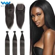 Tissage en lot brésilien naturel vierge lisse   Cheveux humains, courts et longs, avec closure, extensions de couleur, lot de 3