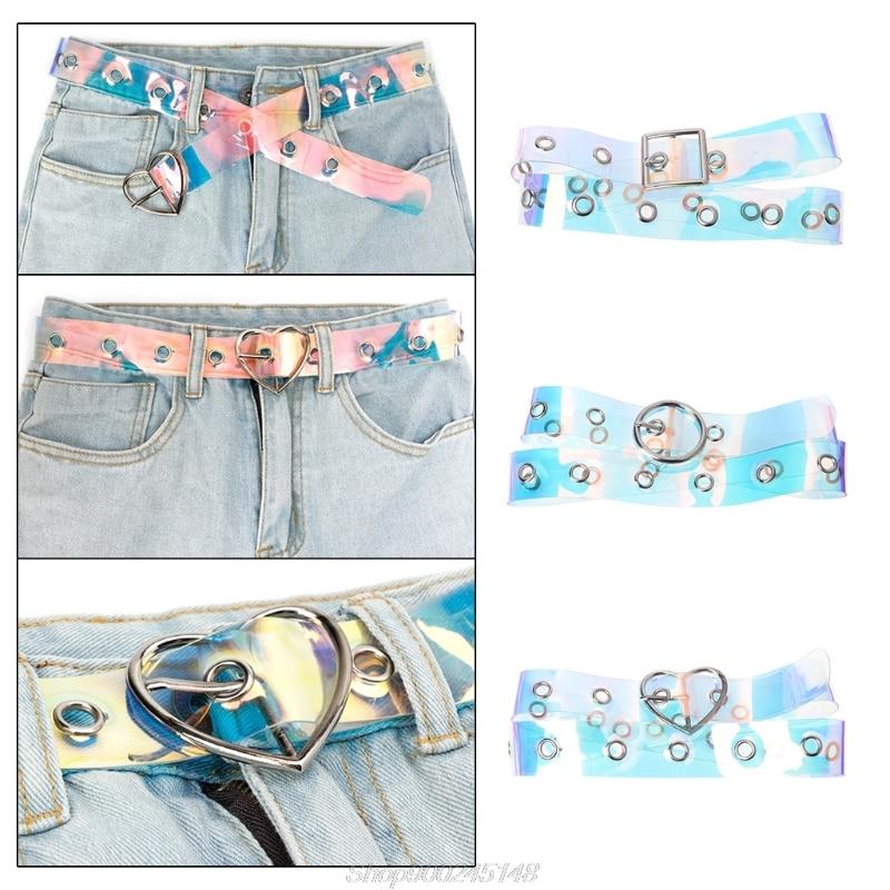 Cinturón para mujer, hebilla de Metal láser, decoración informal, Pin, moda transparente, cinturón para chicas