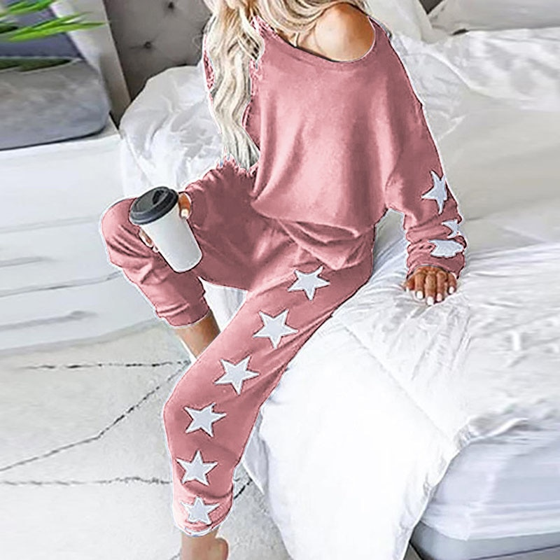 2Pcs Set Women Sport Tracksuit O Neck Top Sweatshirt Pants Star Jogger Sport Wear Ladies Casual Sweat Autumn Streetwear Suit