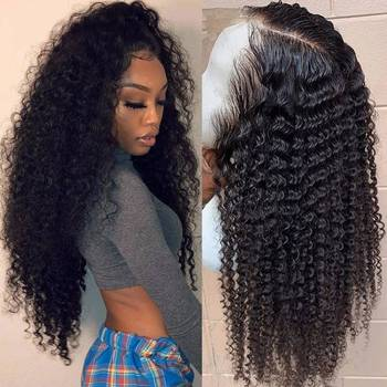 13x4 Kinky Curly Lace Front Human Hair Wigs For Black Women Transparent Lace Wigs With Frontal 150%-250% Brazilian Remy Hair