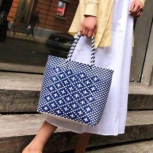 NEW Summer Beach Basket Bag Capacity Heavy Duty Handmade Woven Pp Plastic Handbag Plaid Checks Teacher Tote Shopping Bag