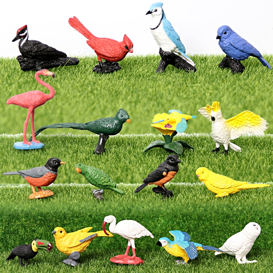 Simulation Hand Painted exotic birds Animal model Figures Figurine Toys Oriole Robin Snowy Owl Educational Toy Cake Toppers