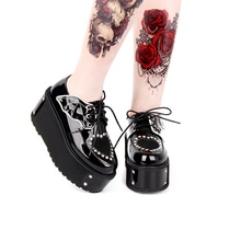 Japonais Harajuku gothique Punk Lolita automne hiver filles chaussures talon épais plate-forme à lacets chaussures