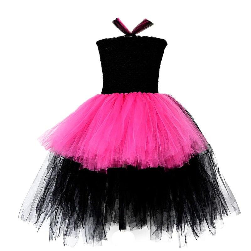Vestido rosa de tutú de la estrella del Rock Popular para niñas, vestidos rosas de bebé para cumpleaños, actuación de fiesta, Cosplay, vestido de tutú para Halloween para niños