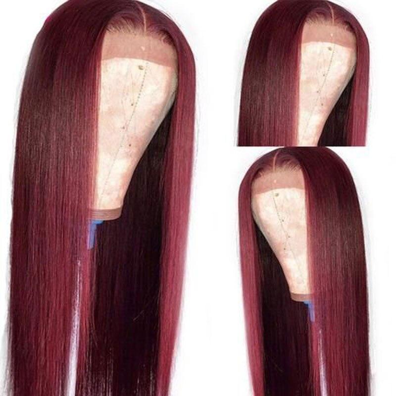 """""""La sensación"""" vino tinto Borgoña sintético recto 13*3 peluca con malla frontal fibra resistente al calor Natural del pelo para las mujeres pelucas"""