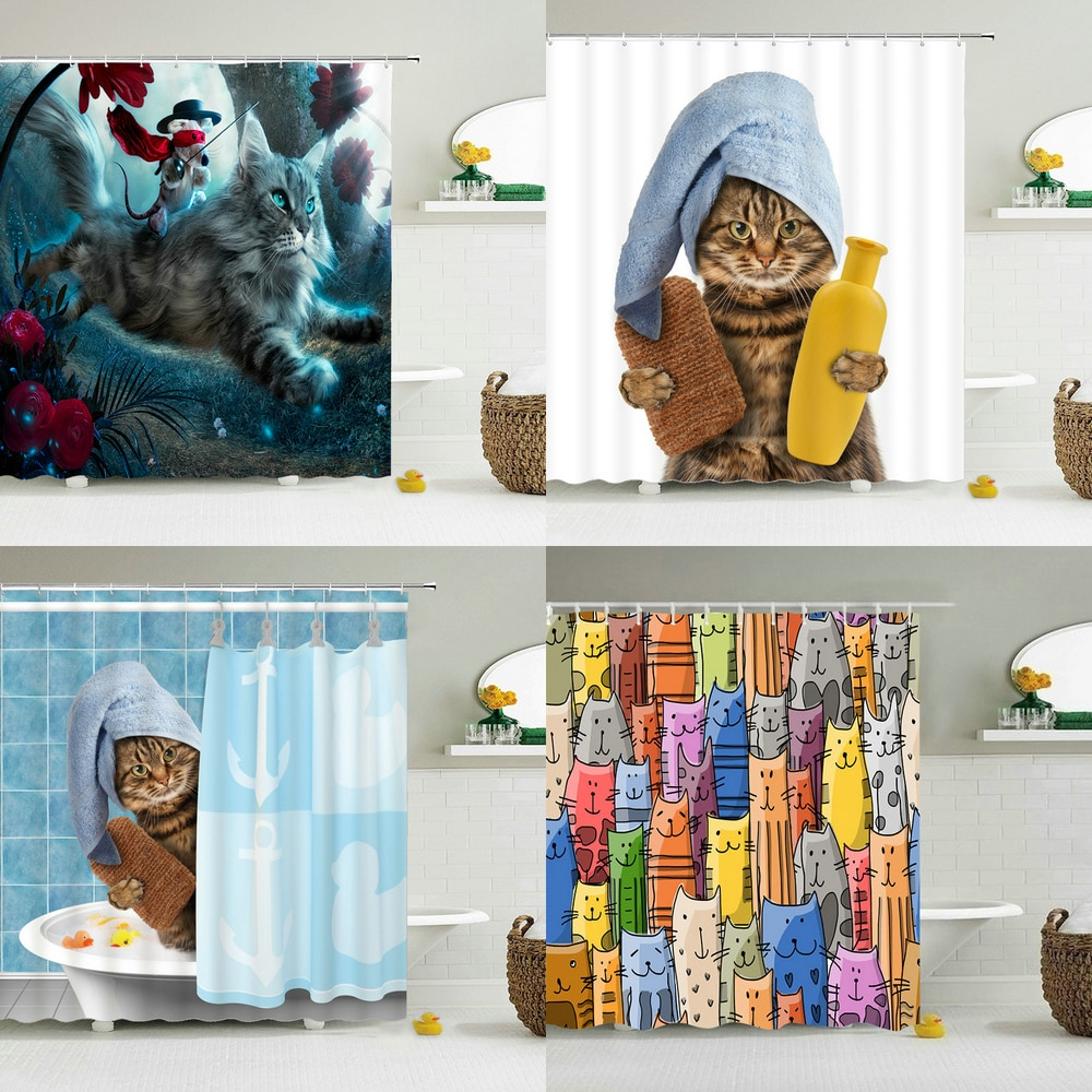Funny Shower Curtains Bathroom Curtain With Hooks Decor Waterproof Cat Dog 3d Bath 180*180cm Creative Personality Shower Curtain