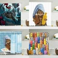 Rideau de douche 3d avec crochets  rideau de salle de bain avec crochets  impermeable  creatif  pour personnalite  chat  chien  180x180cm