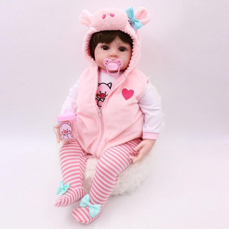 Muñeca Reborn de cuerpo entero de silicona y vestido rosa de 47CM, muñeca Reborn a prueba de agua, muñeca de juguete para el baño, regalo de Navidad