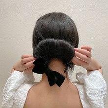 Fabricant de chignon en velours magique coréen pour femmes, outil de coiffure Simple et mignon pour donuts, noir, accessoire élégant