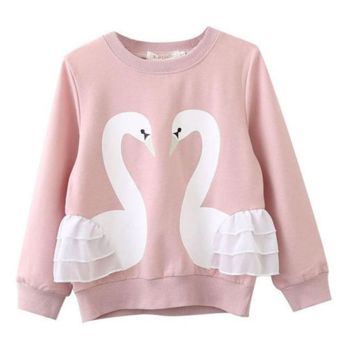 Ropa para bebés y bebés de dibujos animados Swans Jumper encaje Ruffle superior niños niña abrigo de manga larga
