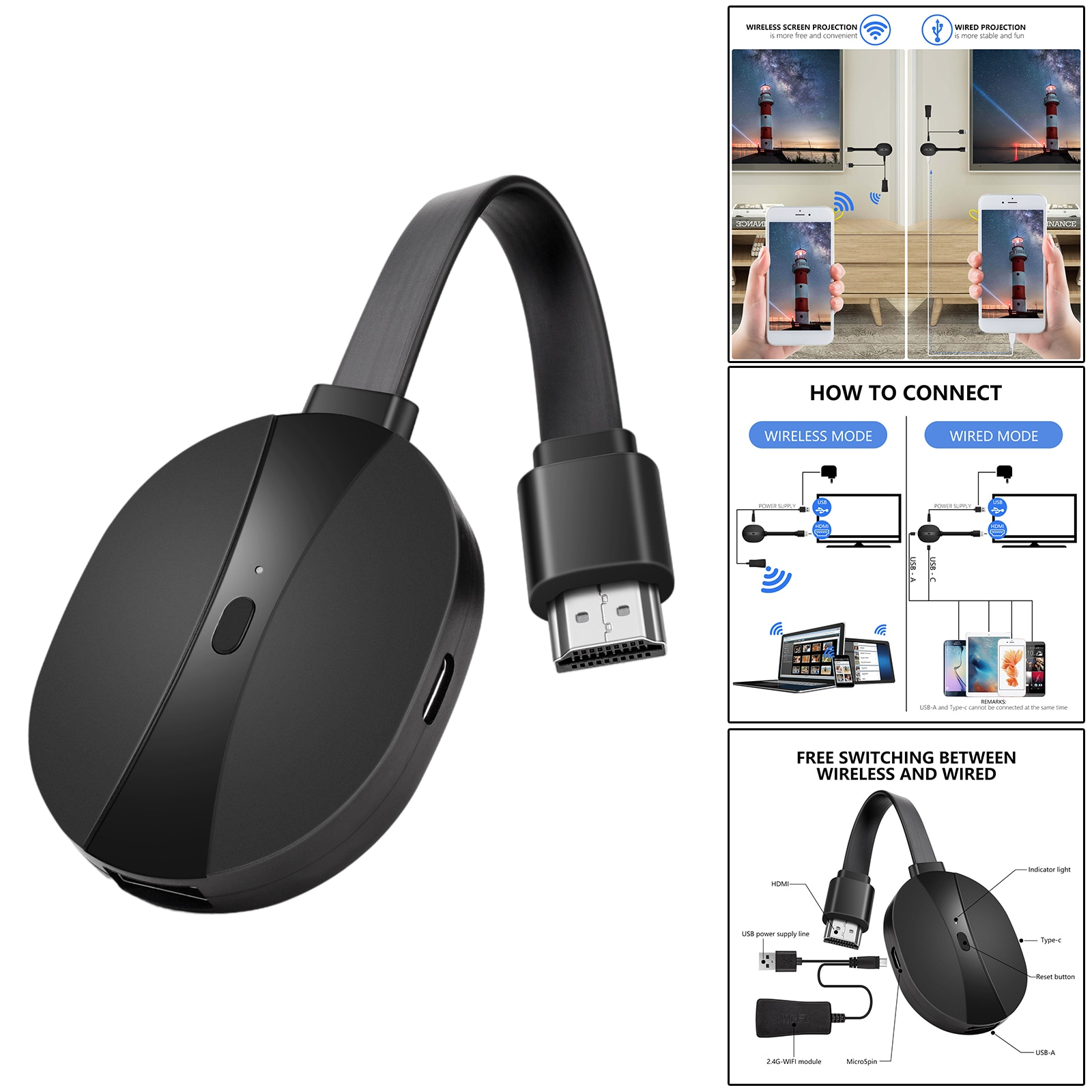 4K 2.4G Wireless  Adapter WIFI Display Dongle, Video Receiver, Easy to use