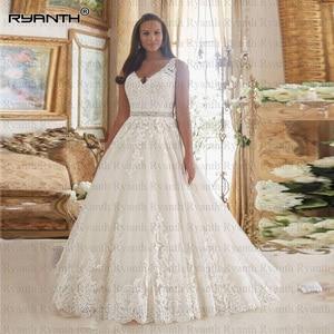 Vestido de noiva Sexy V Neck Lace Ball Gown Wedding Dress 2020 Hot Beaced Belt Illusion Back Wedding Gowns Vestidos de noiva