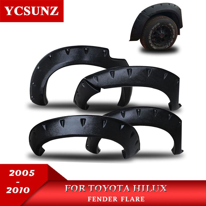 6 بوصة مصد يتم تثبيته لحماية العجلات اكسسوارات السيارات لون أسود واقيات الطين لتويوتا هايلكس فيجو 2005 2006 2007 2008 2009 2010 مزدوج المقصورة