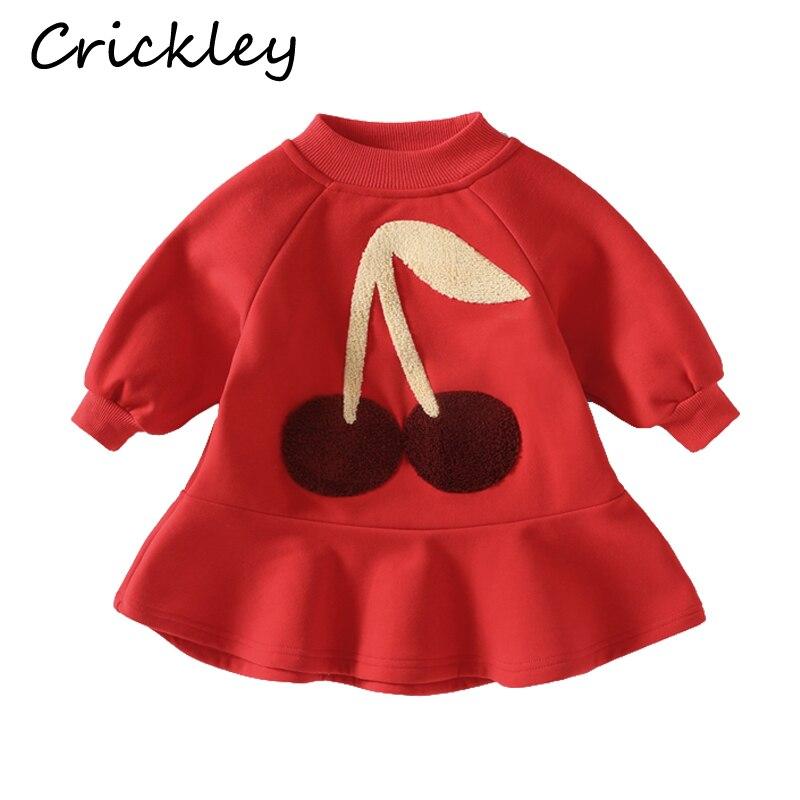 Bonito teste padrão de cereja meninas vestidos de algodão velo crianças roupas outono inverno quente da criança vestido de algodão vermelho