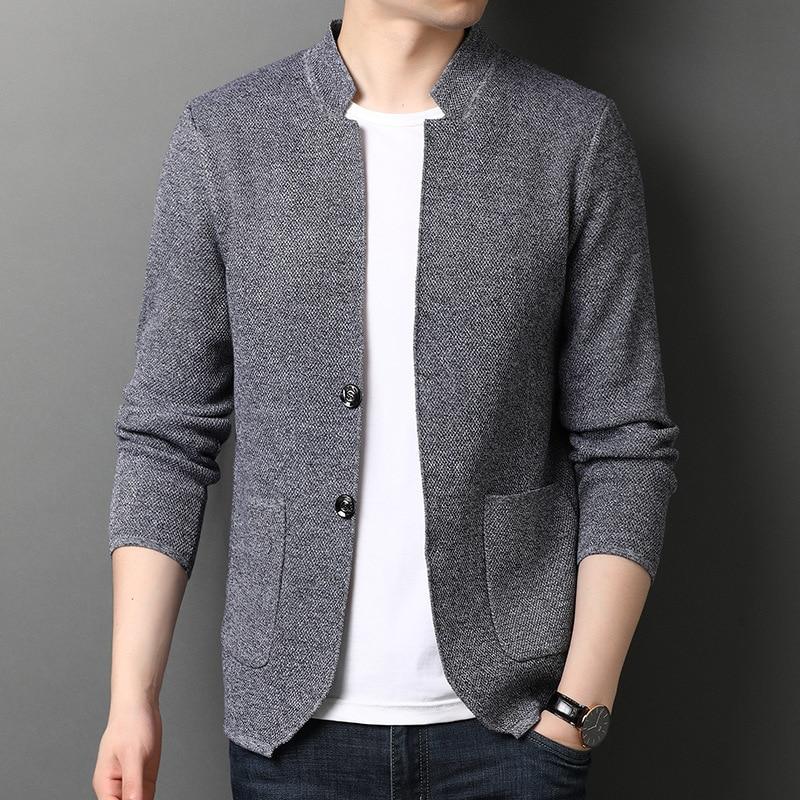 Зимние мужские свитера цвета хаки, приталенные Повседневные вязаные кардиганы с длинным рукавом, мужское модное Брендовое пальто с высоким...