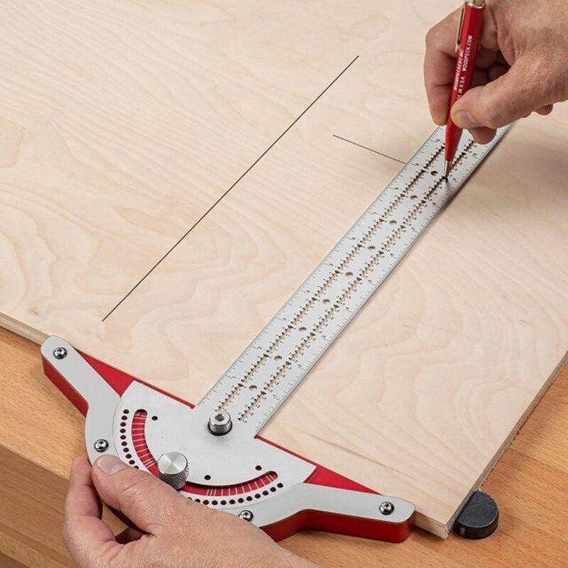 Woodworkers Borda Regra Scribing Reta Buraco Carpintaria Ângulo Medida Ferramenta