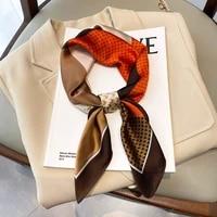 autumn korean popular silk scarves female dustproof kerchief luxury color matching square towel fashion 70x70cm sunscreen shawls