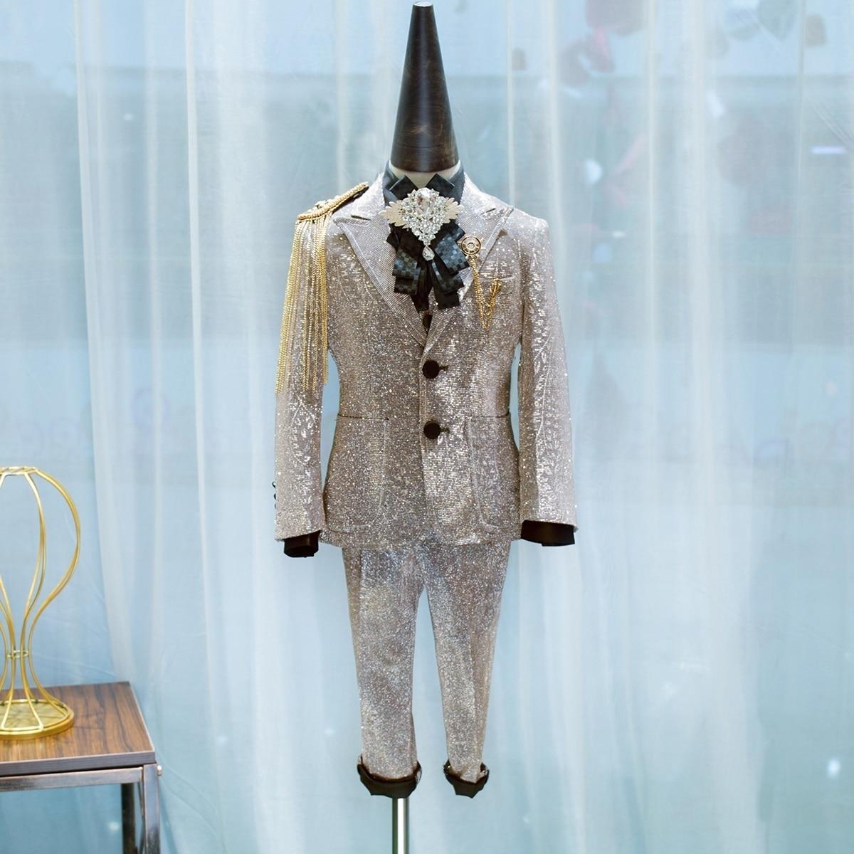 Kid's Wedding Suit For Boy Tuxedo Golden Catwalk Piano Fomal Prom Dresses School Performance Costume Children Clothing Set