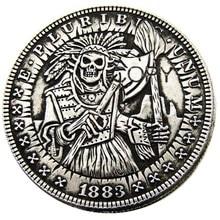 Hb (35) Ons Hobo 1883 Morgan Dollar Verzilverd Kopie Munten