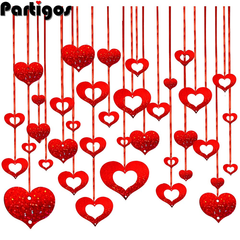 AliExpress - 100pcs/lot Red Heart Laser Sequined Rain Balloon Pendant Romantic Wedding Room Valentiens Day Birthday Party Decorations