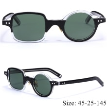 Vintage retro character square/round sunglasses imported acetate frame polarized lens fashion origin