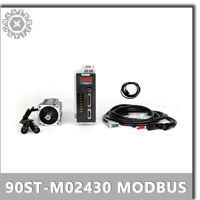 With Modbus 220V 750W 90ST-M02430 AC Servo motor 3000RPM 2.4 N.M servomotor Single-Phase ac drive permanent magnet Matched Drive