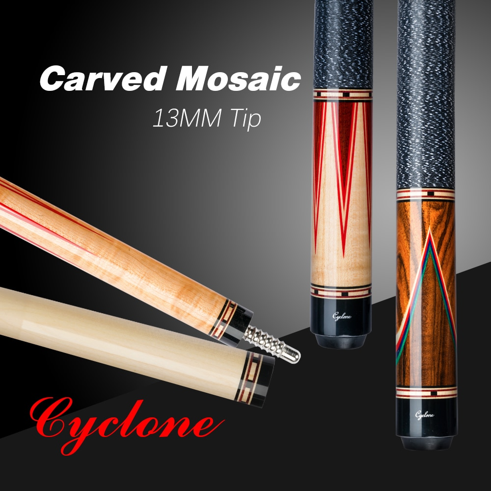Cyclone Billiard Cue Srick  13mm Tip 3*8/8 Radial Pin Inlaid Carving Cue By FURY Factory Manufacture Handmade Professional Cue