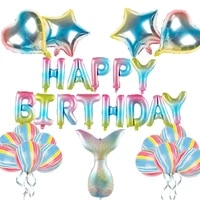 19 pcs mermaid gradient happy birthday balloon set rainbow love five pointed star aluminum film balloon birthday party balloon