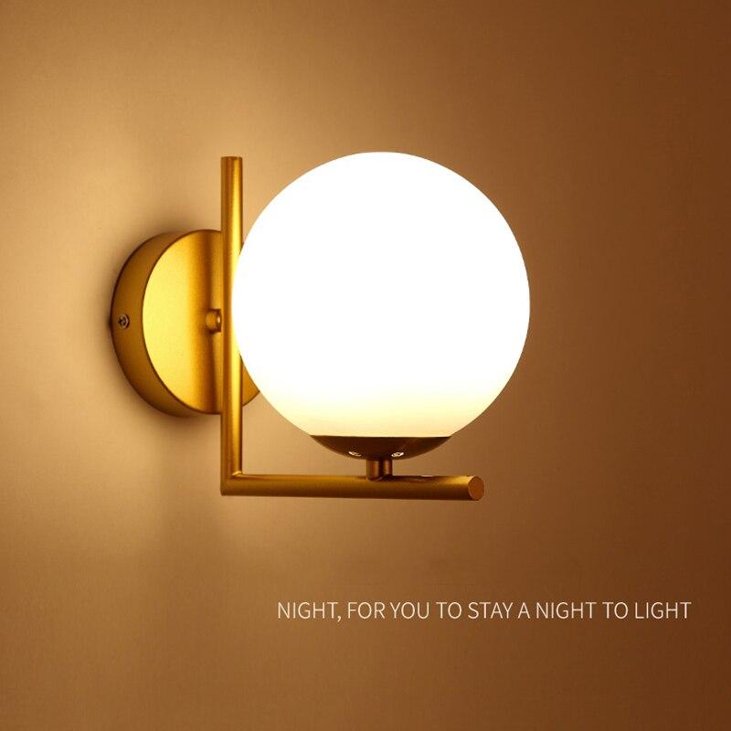 الشمال الذهب/أسود جدار مصابيح الحديثة جدار ضوء مصباح غرفة النوم الحديد + زجاج الجدار الشمعدان ل السرير ضوء تركيبات إضاءة غرفة النوم