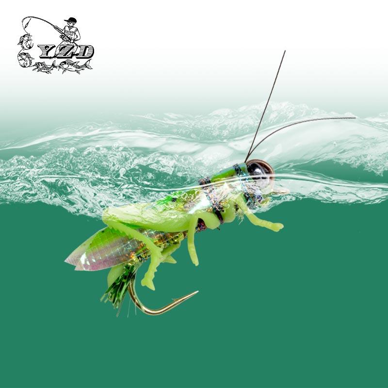 YAZHIDA يطير الصيد الطعوم جندب الذباب 12 قطعة 270 مللي متر العائمة المياه بايك السلمون الكارب باس إغراء YZD-F12 الاصطناعي الحشرات السحر