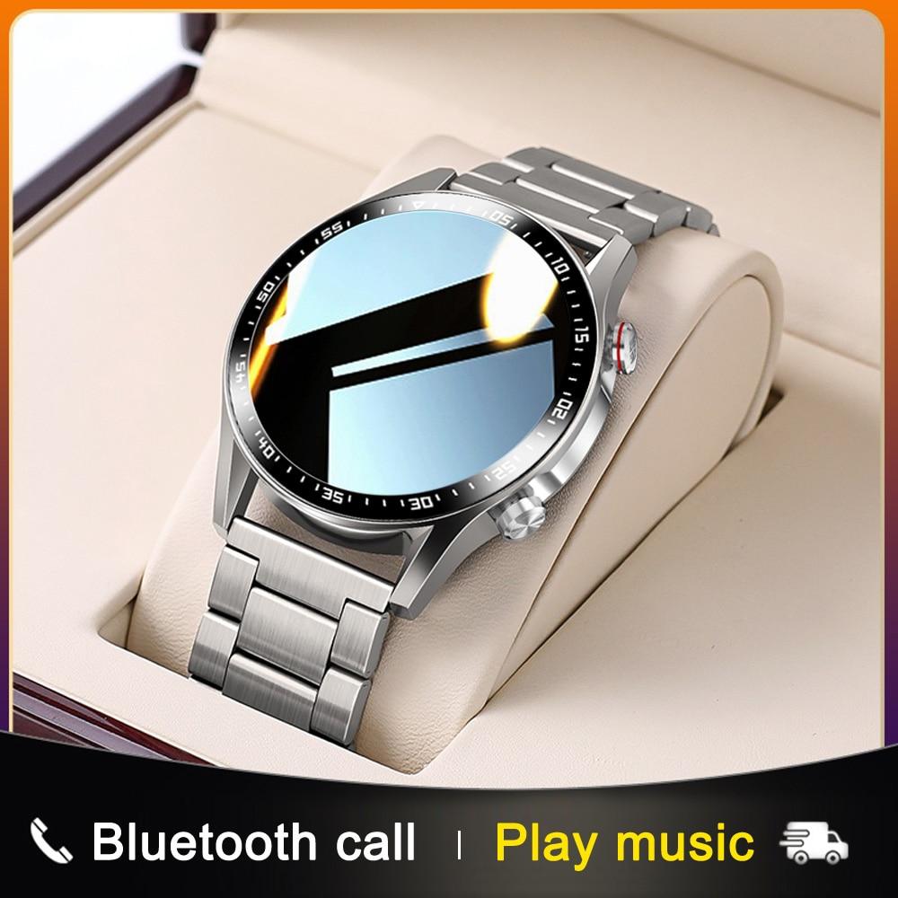 E1-2 ساعة ذكية الرجال دعوة بلوتوث مخصص الهاتفي كامل شاشة تعمل باللمس مقاوم للماء Smartwatch لنظام أندرويد IOS الرياضة جهاز تعقب للياقة البدنية