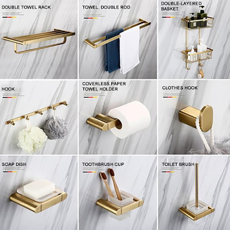 BagnoLux الفولاذ المقاوم للصدأ نحى الذهب ورقة حامل خطاف ملابس منشفة المرحاض صحن الصابون اكسسوارات الحمام