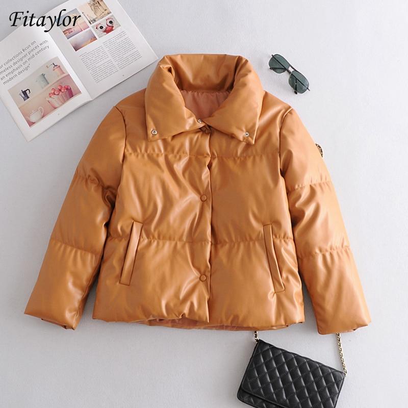 معطف نسائي جديد من Fitaylor من الفرو البني المصنوع من الجلد الصناعي بأزرار كبيرة الحجم موضة شتاء 2020 من جلد البولي يوريثان ذو ياقة مقلوبة