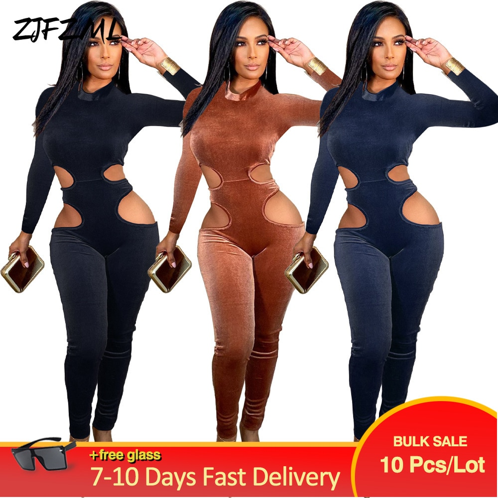Bulk Lots Wholesale Items Women's Velour Party Long Jumpsuit Early Autumn Side Cut Out Long Sleeve One Piece Overall Club Outfit