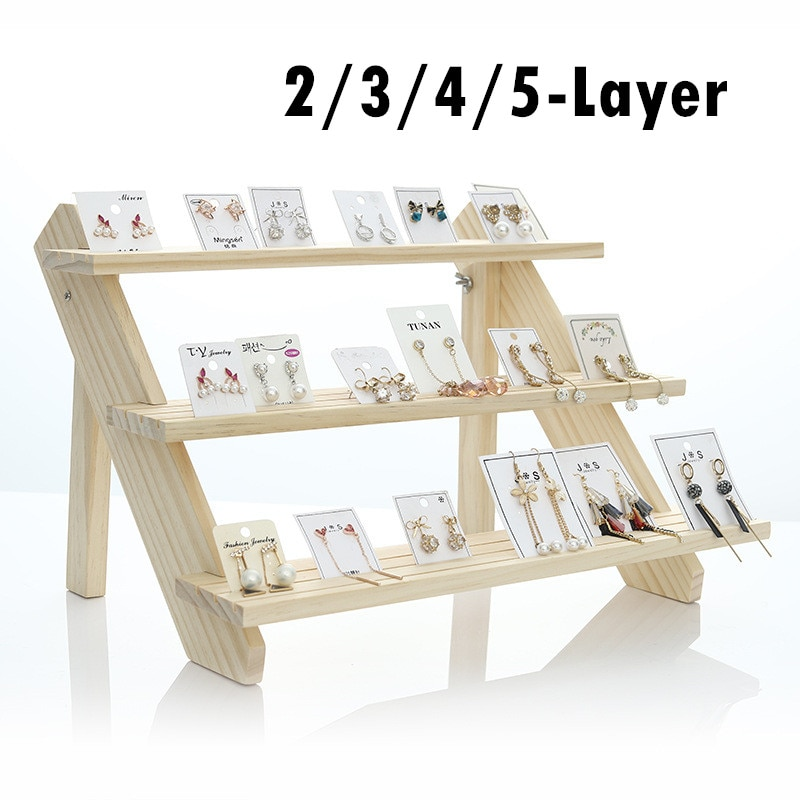 2/3/4/5-Layer Wood Earring Stand Display Jewelry Display Rack Tiered Jewelry