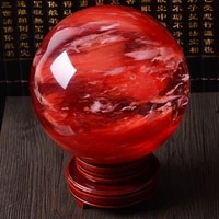 80mm rare beautiful natural red citrine calcite quartz crystal sphere ball healing gemstone with base