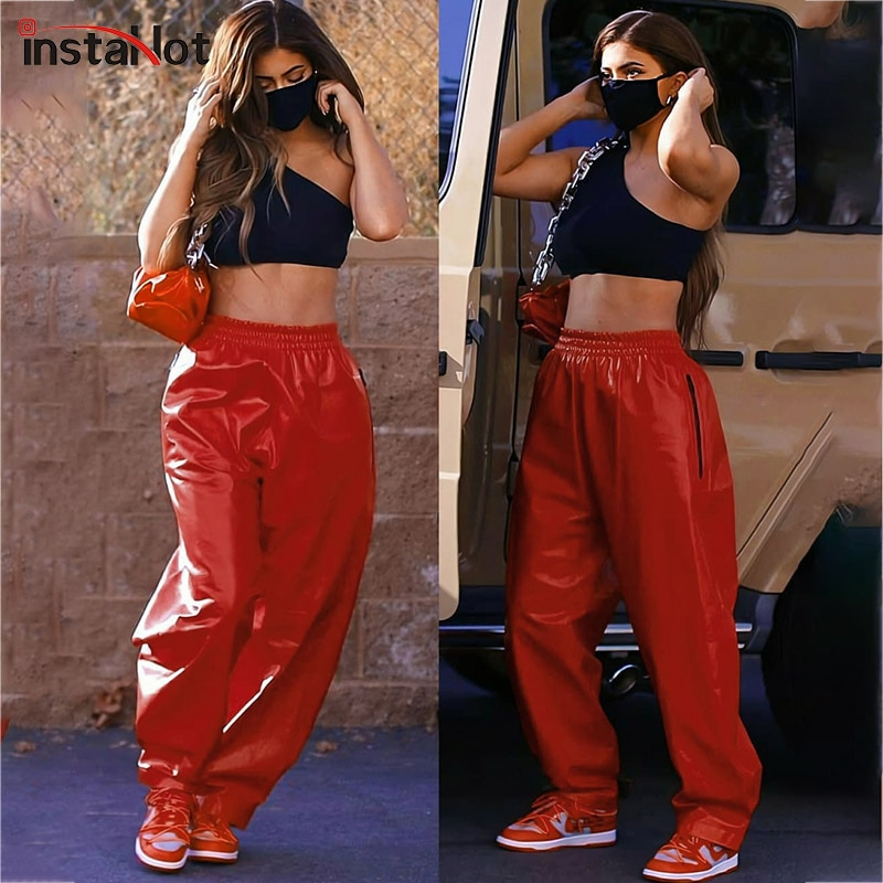 InstaHot Women Faux Leather Straight Pant Trousers Red Streetwear Casual Elegant Zipper Pockets Pant