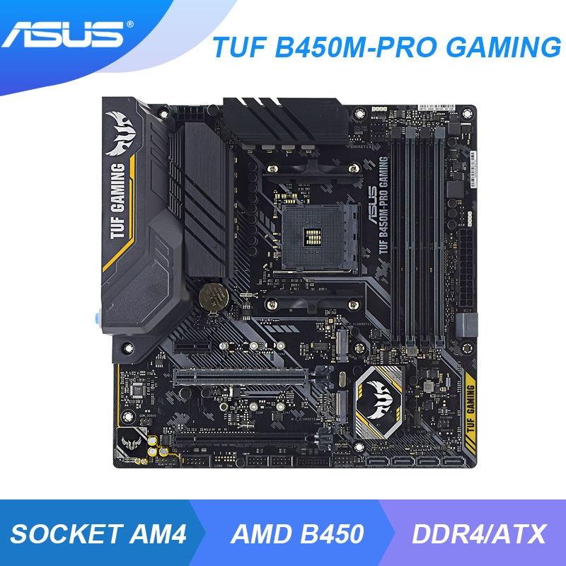 ASUS TUF B450M-PRO GAMING AMD B450 B450M AM4 Mining Motherboard DDR4 128GB 2×M.2 ryzen 5 3600 5600x cpus PCI-E 3.0 HDMI USB 3.1
