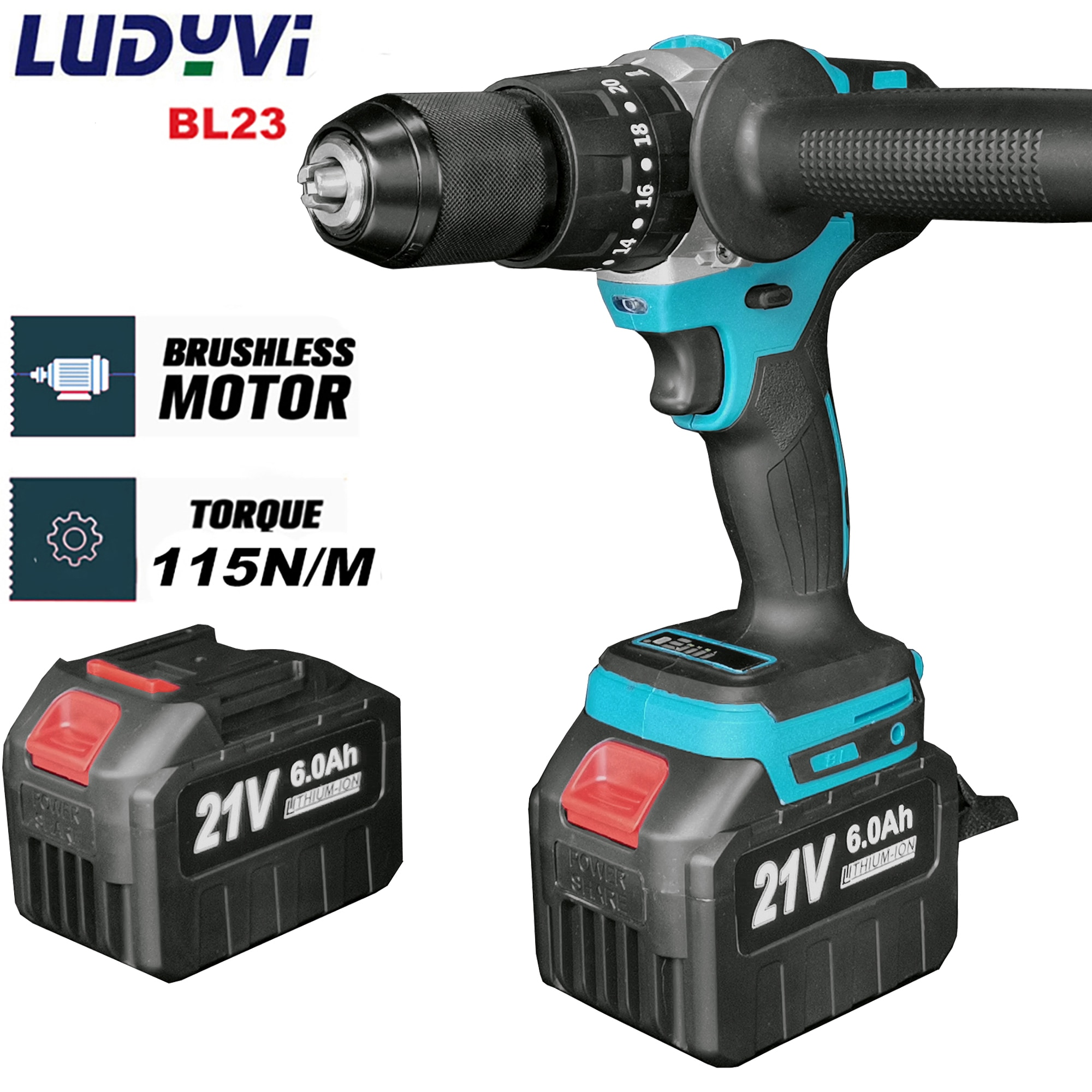 cordless drill 21v power tools 3 in 1 with impact function rotary tool electric screwdriver 21V 13MM Brushless Electric Drill 115N/M 4000mah Battery Cordless Screwdriver With Impact Function Can Drill Ice Power Tools