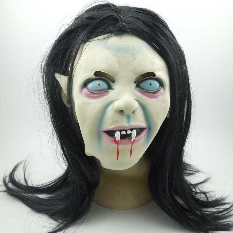 Máscara de Halloween Terrible Cosplay fiesta mamá Pelo Largo diablo fantasma máscara sombreros