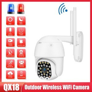Wireless WIFI Camera 1080P 2MP Outdoor PTZ IP Camera Two Way Audio Motion Detection Clear Night Vision Waterproof