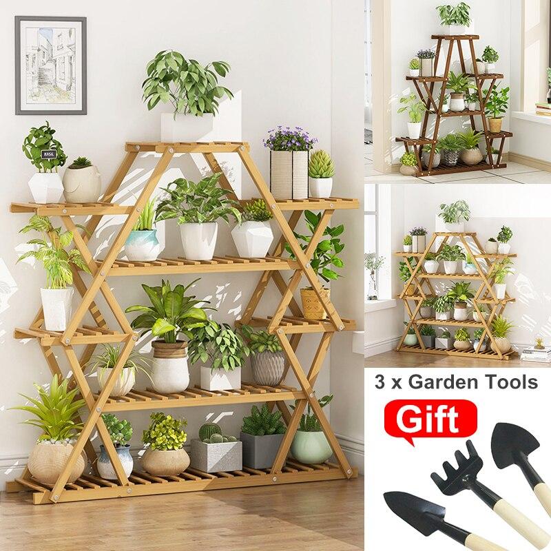 6 Tier drewniany stojak na rośliny kwiat Patio donica ogrodowa stojak na donicę półka wielowarstwowy wyświetlacz Bonsai na zewnątrz kryty z 3 sztuk narzędzi