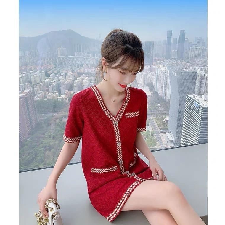 Vestido Rojo con cuello en V pequeño para mujer, ropa Sexy para mujer, camiseta de gama alta, falda de verano 2021