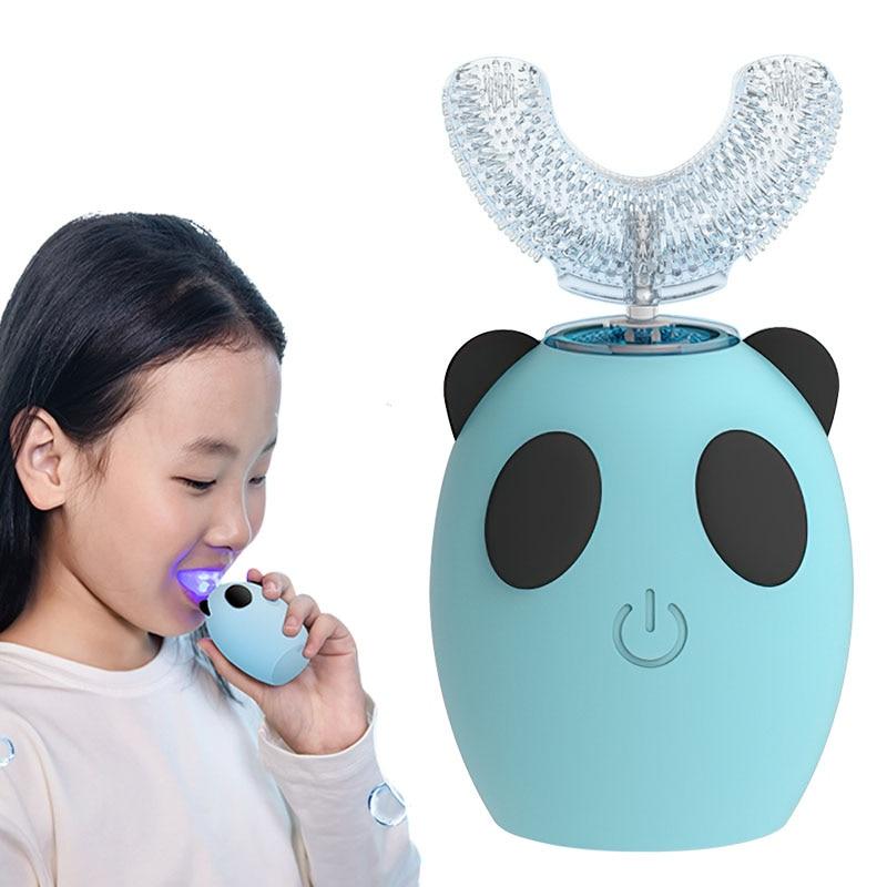 DIOZO U شكل 360 درجة طفل فرشاة أسنان كهربائية بالموجات الصوتية القابلة لإعادة الشحن الأطفال العناية بالأسنان مقاوم للماء فرشاة أسنان التلقائي