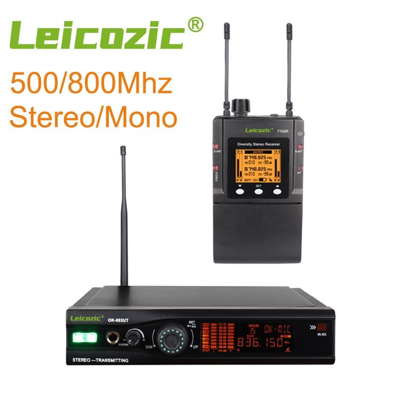 Leicozic ستيريو في الأذن رصد نظام لاسلكي S003-7102 واسعة النطاق 500/800Mhz معدات الصوت المهنية المرحلة الشخصية