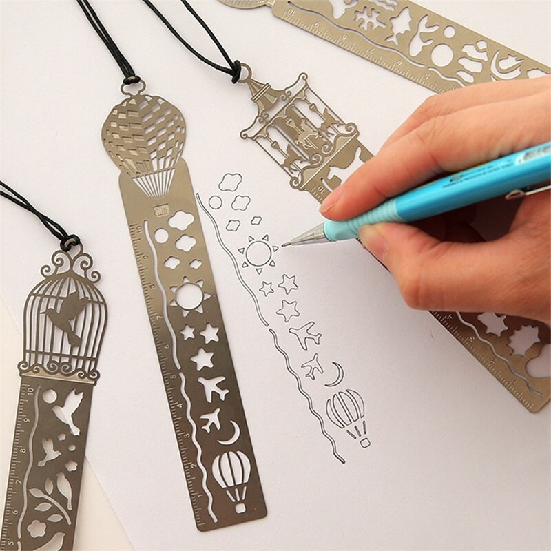 4 unids/lote lindo Kawaii creativo jaula de caballo hueco Metal marcador regla para regalo para estudiante infantil útiles escolares envío gratis